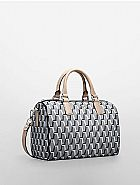 Bolsa calvin klein women s brianna printed satchel black 36003087