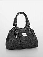 Bolsa calvin klein women s logo jacquard city satchel black