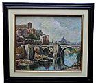 J. blanc  ponte medieval europeia - acid  �leo sobre tela 54x44 - antiquissimo!