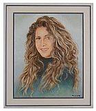 Quadro a �leo e acrilico sobre tela retrato da cantora wanderlea