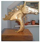 Escultura de cavalo �rabe feita em bronze