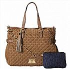 BOLSA JUICY COUTURE QUILTED AND STUDDED NYLON LAURYN ZIP TOP CROSS BODY BAG, MOCH