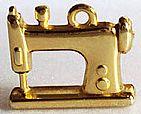 Pingente Modelo Maquina de Costura Metal Ouro Flash e Verniz Brilhoso