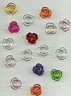 17 Botoes de Rosas Acrilicas Pequenas,  Cores Variadas