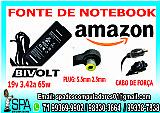 Fonte carregador notebook amazon 19v 3.42a plug 5.5mm × 2.5mm