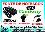 Fonte carregador notebook gateway 19v 3.42a plug 5.5mm × 2.5mm