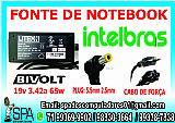 Fonte carregador notebook intelbras 19v 3.42a plug 5.5mm × 2.5mm