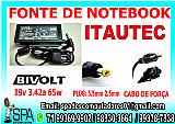Fonte carregador notebook itautec 19v 3.42a plug 5.5mm × 2.5mm