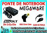 Fonte carregador notebook megaware 19v 3.42a plug 5.5mm × 2.5mm