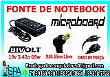 Fonte carregador notebook microboard 19v 3.42a plug 5.5mm × 2.5mm