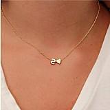 Anel Moda heart-shaped colares cadeia carta personalizado no
