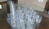 Jogo de copos de cristal lapidado antigo- 18 pecas