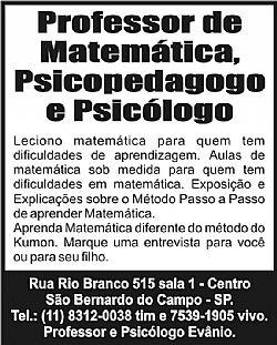 Aulas de Reforco de Matematica.